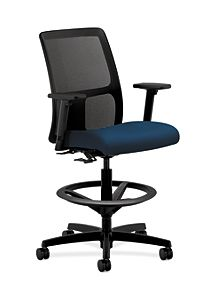HON Ignition Low-Back Task Stool Mesh Back Tectonic Mariner Color Adjustable Arms Front Side View HITS5.A.H.M.NT90.T.SB
