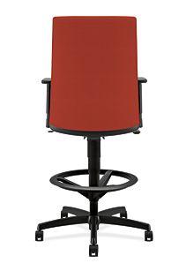 HON Ignition Low-Back Task Stool Upholstered Back Centurion Poppy Color Adjustable Arms Back View HITS5.A.H.U.CU42.T.SB
