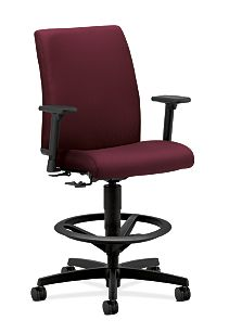 HON Ignition Low-Back Task Stool Upholstered Back Tectonic Wine Color Adjustable Arms Front Side View HITS5.A.H.U.NT69.T.SB