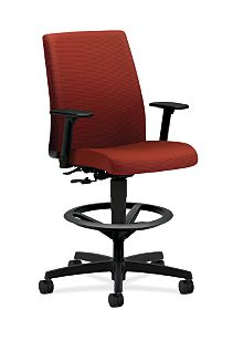HON Ignition Low-Back Task Stool Upholstered Back Dark Orange Color Adjustable Arms Front Side View HITS5.A.H.U.RG62.T.SB