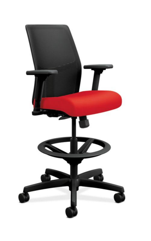 HON Ignition LowBack Task Stool Mesh Back Centurion Ruby Adjustable Arms  Front Side View Hon Office Chairs E74