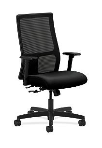 HON Ignition Mid-Back Task Chair Mesh Back Confetti Black Color Adjustable Arms Front Side View HIWM1.A.H.M.AB10.T.SB
