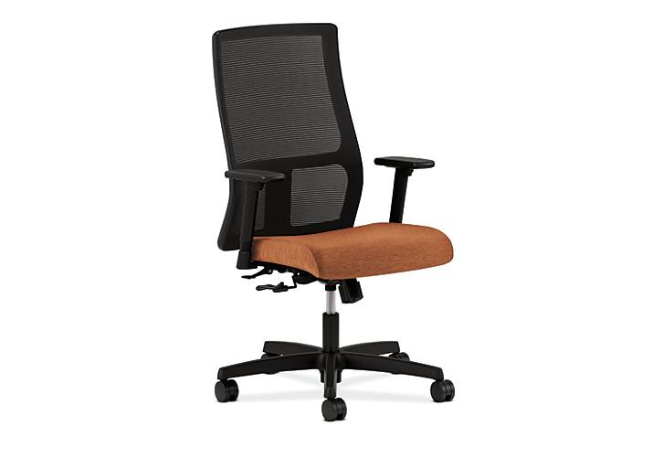HON Ignition Mid-Back Task Chair Mesh Back Attire Blaze Color Adjustable Arms Front Side View HIWM1.A.H.M.AI42.T.SB