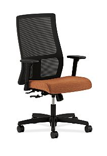 HON Ignition Mid-Back Task Chair Mesh Back Attire Blaze Color Adjustable Arms Front Side View HIWM1.A.H.M.AI42.T.SB
