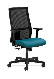 HON Ignition Mid-Back Task Chair Mesh Back Inertia Calypso Color Adjustable Arms Front Side View HIWM1.A.H.M.NR98.T.SB
