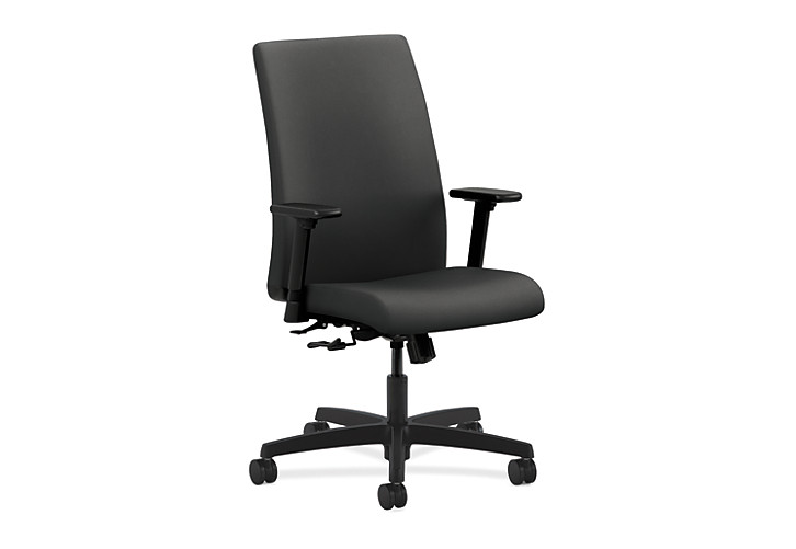 HON Ignition Mid-Back Task Chair Upholstered Back Centurion Iron Ore Color Adjustable Arms Front Side View HIWM1.A.H.U.CU19.T.SB