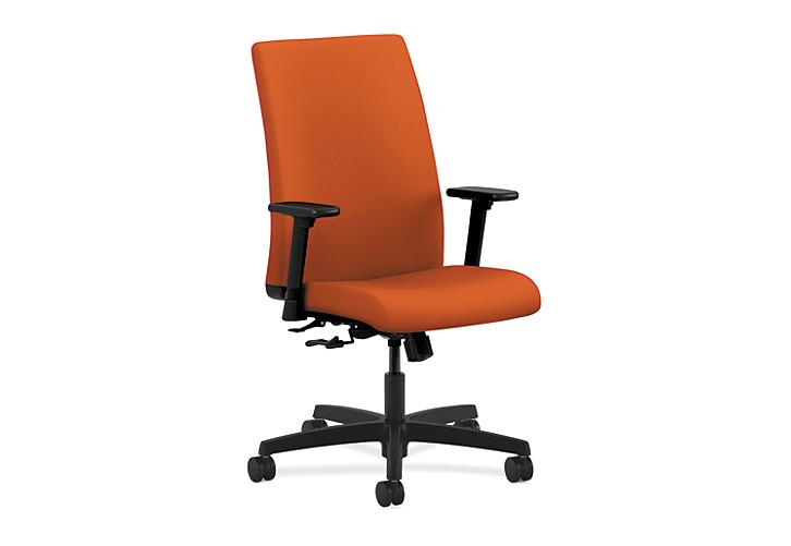 HON Ignition Mid-Back Task Chair Upholstered Back Centurion Tangerine Color Adjustable Arms Front Side View HIWM1.A.H.U.CU46.T.SB