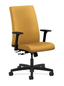 HON Ignition Mid-Back Task Chair Upholstered Back Inertia Mustard Color Adjustable Arms Front Side View HIWM1.A.H.U.NR26.T.SB