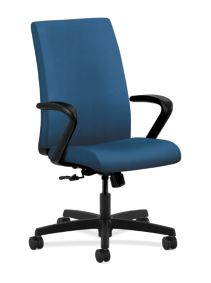 HON Ignition Mid-Back Task Chair Upholstered Back Inertia Regatta Color Fixed Arms Front Side View HIWM1.F.H.U.NR90.T.SB