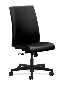 HON Ignition Mid-Back Task Chair Upholstered Back Black Leather Armless Front Side View HIWM1.N.H.U.SS11.T.SB