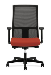 HON Ignition Mid-Back Task Chair Mesh Back Centurion Poppy Adjustable Arms Front View HIWM2.A.H.M.CU42.T.SB