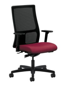 HON Ignition Mid-Back Task Chair Mesh Back Inertia Mulberry Adjustable Arms Front Side View HIWM2.A.H.M.NR60.T.SB