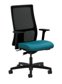 HON Ignition Mid-Back Task Chair Mesh Back Inertia Calypso Color Adjustable Arms Front Side View HIWM2.A.H.M.NR98.T.SB