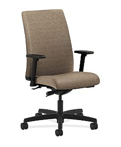 HON Ignition Mid-Back Task Chair Upholstered Back Attire Taupe Color Adjustable Arms Front Side View HIWM2.A.H.U.AI26.T.SB
