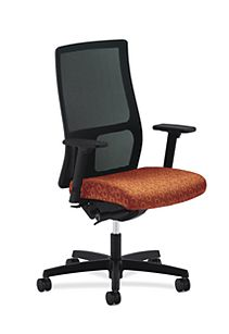 HON Ignition Mid-Back Task Chair Upholstered Back Orange Adjustable Arms Front Side View HIWM2.A.H.U.GO42.T.SB