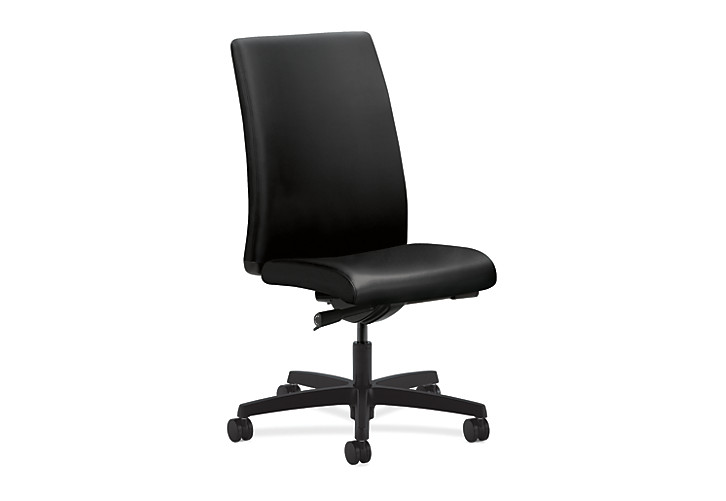 HON Ignition Mid-Back Task Chair Upholstered Back Black Leather Adjustable Arms Front Side View HIWM2.N.H.U.SS11.T.SB