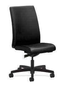 HON Ignition Mid-Back Task Chair Upholstered Back Black Leather Adjustable Arms Front Side View HIWM2.N.H.U.SS11.T.SB