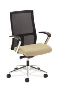 HON Ignition Mid-Back Task Chair Mesh Back Polyurethane Buff Color Fixed Arms Front View HIWM2.P.H.M.UR22.T.PA