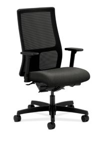 HON Ignition Mid-Back Task Chair Confetti Gray Adjustable Arms Front Side View HIWM3.A.H.M.AB12.T.SB