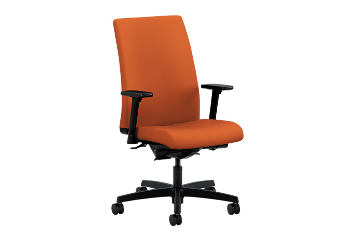 HON Ignition Mid-Back Task Chair Centurion Tangerine Adjustable Arms Front Side View HIWM3.A.H.U.CU46.T.SB