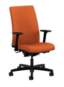 HON Ignition Mid-Back Task Chair Centurion Tangerine Adjustable Arms Front Side View HIWM3.A.H.U.CU46.T.SB
