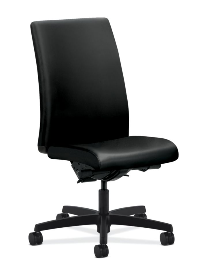 HON Ignition Mid-Back Task Chair Black Leather Armless Front Side View HIWM3.A.H.U.SS11.T.SB