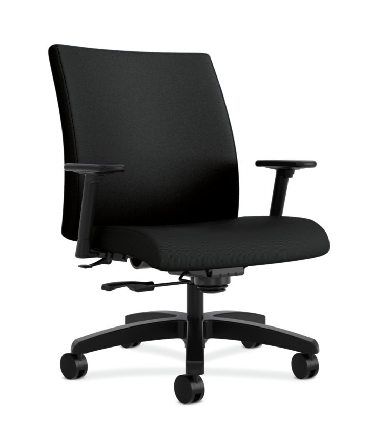 HON Ignition Big & Tall Task Chair Tectonic Black Color Adjustable Arms Front Side View HIWM8.A.A.U.NT10.T.SB