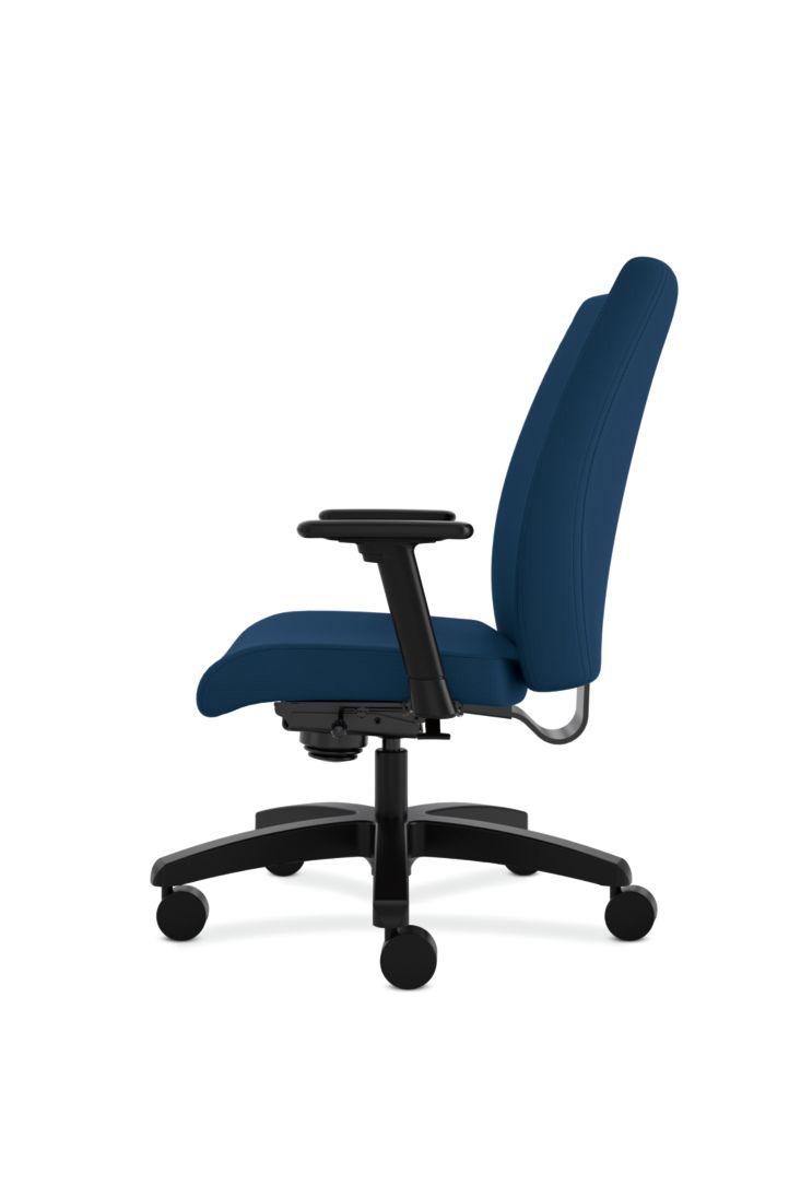 HON Ignition Big & Tall Task Chair Tectonic Mariner Adjustable Arms Side View HIWM8.A.A.U.NT90.T.SB