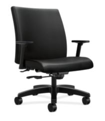 HON Ignition Big & Tall Task Chair Black Leather Adjustable Arms Front Side View HIWM8.A.A.U.SS11.T.SB