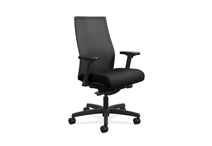 HON Ignition Mid-Back Task Chair Centurion Black Color Adjustable Arms Front Side View HIWMM.Y2.A.H.IM.CU10.AL.SB.T