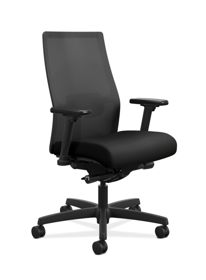 HON Ignition Mid-Back Task Chair Centurion Black Color Adjustable Arms Front Side View HIWMM.Y2.A.H.IM.CU10.AL.SB.T