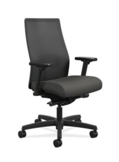 HON Ignition Mid-Back Task Chair Centurion Iron Ore Color Adjustable Arms Front Side View HIWMM.Y2.A.H.IM.CU19.AL.SB.T