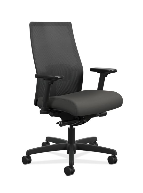 HON Ignition Mid Back Task Chair Centurion Iron Ore Color Adjustable Arms  Front Side View