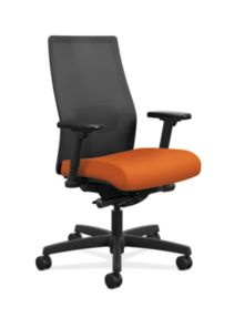 HON Ignition Mid-Back Task Chair Centurion Tangerine Color Adjustable Arms Front Side View HIWMM.Y2.A.H.IM.CU46.AL.SB.T