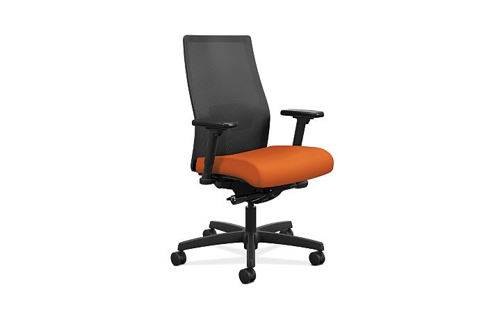 HON Ignition Mid-Back Task Chair Centurion Tangerine Color Adjustable Arms Front Side View HIWMM.Y2.A.H.IM.CU46.AL.SB.T