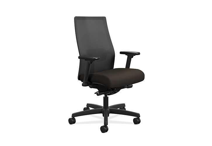 HON Ignition Mid-Back Task Chair Centurion Espresso Color Adjustable Arms Front Side View HIWMM.Y2.A.H.IM.CU49.AL.SB.T