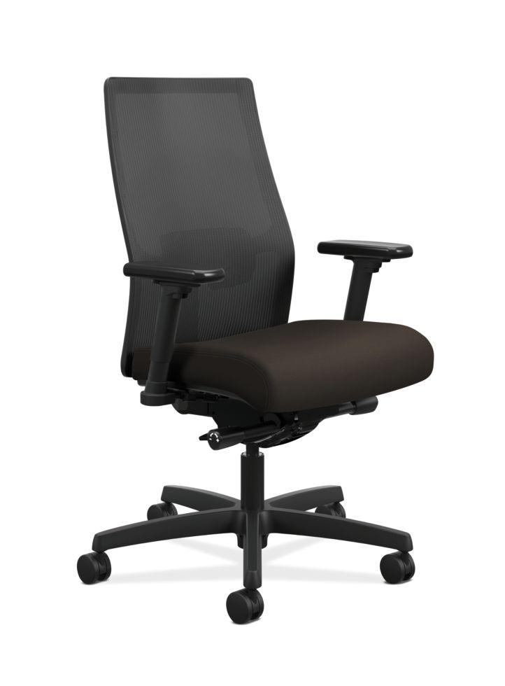 HON Ignition Mid-Back Task Chair Centurion Espresso Color Adjustable Arms Front Side View HIWMM.Y2.A.H.IM.CU49.AL.SB.T