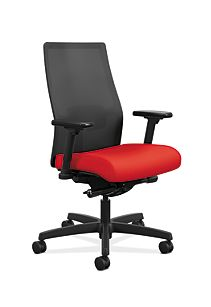 HON Ignition Mid-Back Task Chair Centurion Ruby Color Adjustable Arms Front Side View HIWMM.Y2.A.H.IM.CU67.AL.SB.T