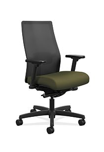 HON Ignition Mid-Back Task Chair Centurion Olivine Color Adjustable Arms Front Side View HIWMM.Y2.A.H.IM.CU82.AL.SB.T