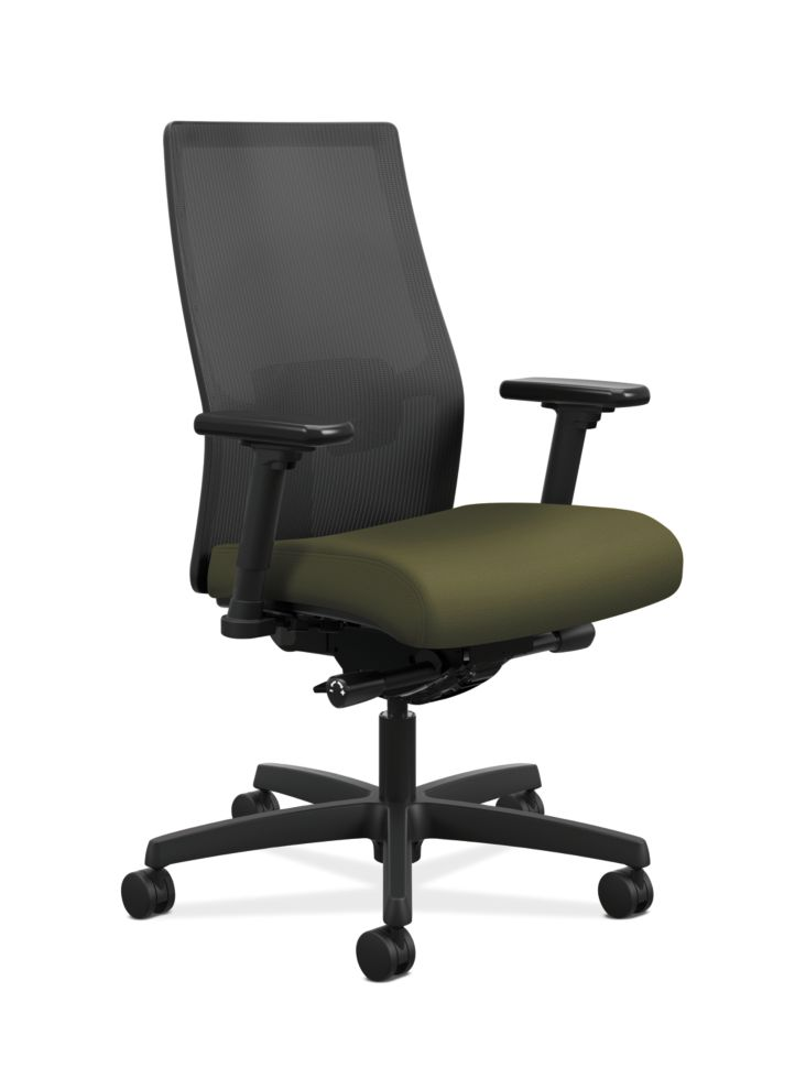 HON Ignition Mid-Back Task Chair Centurion Olivine Color Adjustable Arms Front Side View HIWMM.Y2.A.H.IM.CU82.AL.SB.T