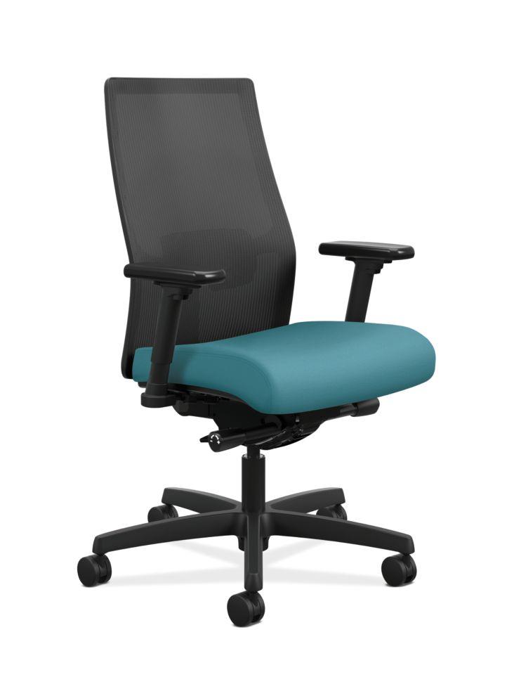 HON Ignition Mid-Back Task Chair Centurion Glacier Color Adjustable Arms Front Side View HIWMM.Y2.A.H.IM.CU96.AL.SB.T