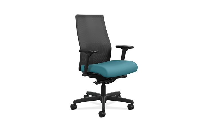 HON Ignition Mid-Back Task Chair Centurion Glacier Color Adjustable Arms Front Side View HIWMM.Y2.A.H.IM.CU96.AL.SB.T
