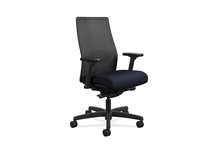 HON Ignition Mid-Back Task Chair Centurion Navy Color Adjustable Arms Front Side View HIWMM.Y2.A.H.IM.CU98.AL.SB.T