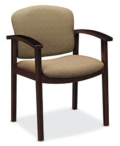 HON Invitation Guest Chair Tan Mahogany Finish Front Side View H2111.N.BE16