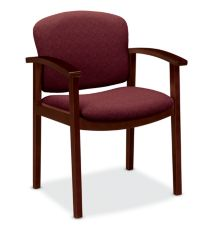 HON Invitation Guest Chair Dark Red Mahogany Finish Front Side View H2111.N.BE62