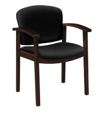 HON Invitation Guest Chair Centurion Black Mahogany Finish Front Side View H2111.N.CU10