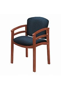 HON Invitation Guest Chair Blue Brown Finish Front Side ViewH2112.J.SB90