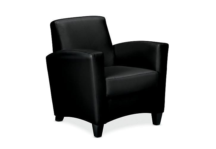 HON Invitation Lounge Arm Chair Black Leather Front Side View HFAA01.SS11.T.BC