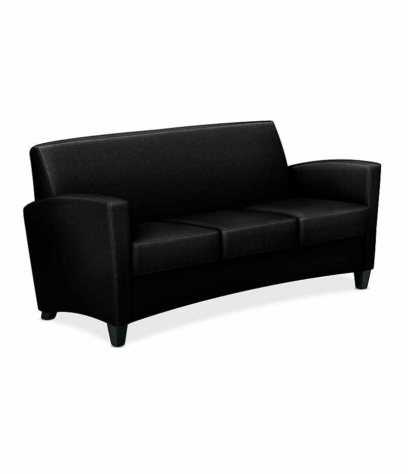 HON Invitation Lounge Sofa Confetti Black Color Front Side View HFAS03.AB10.T.BC