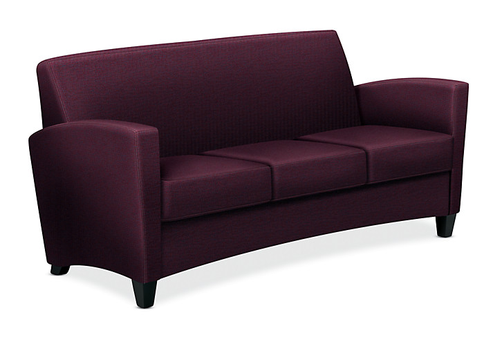HON Invitation Lounge Sofa Dark Purple Color Front Side View HFAS03.BW69.T.BC